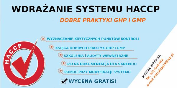 Dokumentacja wymagana przez SANEPID - HACCP ŁÓDŹ