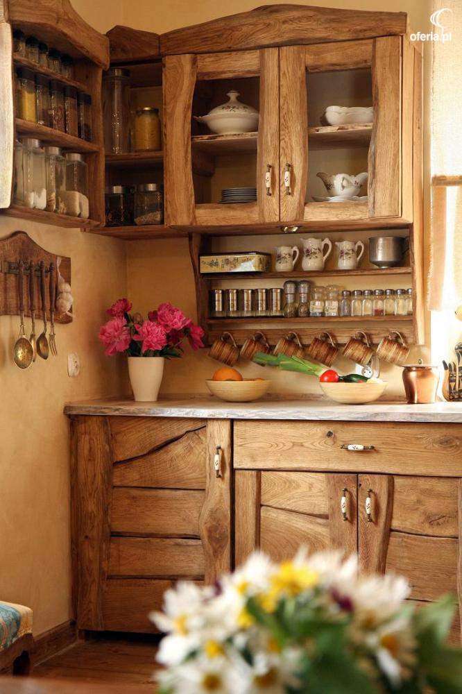 Meble kuchenne rustykalne, retro, wiejskie z drewna • Oferia pl