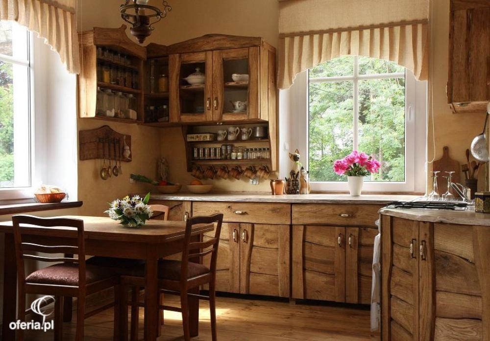 Meble kuchenne rustykalne drewniane Kowary • Oferia pl -> Kuchnia Retro Cena