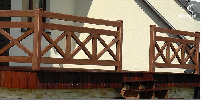 Drewniana Balustrada Na Schody Zewnętrzne I Balkon Kraków